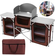 VEVOR Camping Kitchen Table with Windscreen and Storage Organiser,Aluminum Folding Cook Table Lightweight Easy to Set-Up, Portable Camping Kitchen Brown for Outdoor Activities