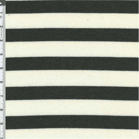 CreamFaded Black Stripe Slub Japanese Hatchi Knit, Fabric Sold By the Yard