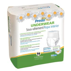 Presto Maximum Absorbency Underwear,  Medium (32'' to 44'' Waist) White Case of 80
