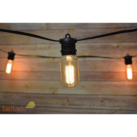 10 Socket Outdoor Commercial String Light Set, Edison T45 Squirrel Cage Light Bulbs, 21 FT Black ...
