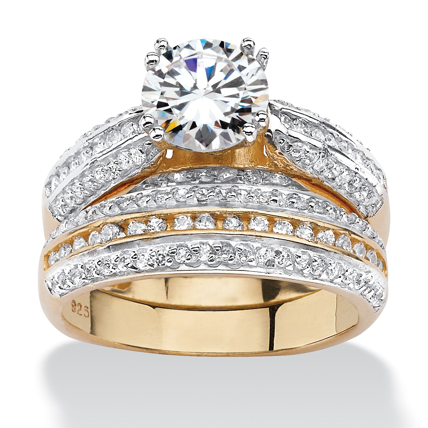 2.55 TCW Cubic Zirconia Two-Piece Bridal Set in18k Gold over Sterling Silver