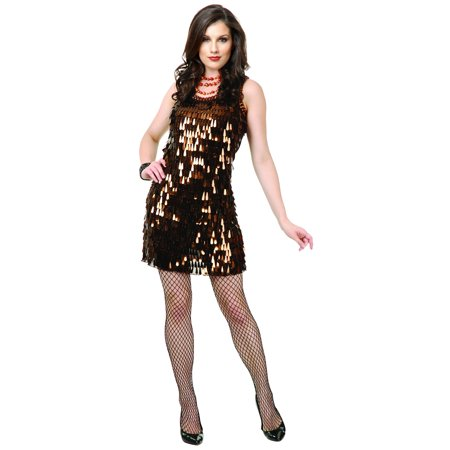Womens  Brown Roaring 20s Tear Drop Sequin Flapper Costume Dress