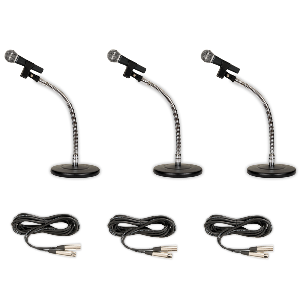 Podium Pro 3 PP58 Dynamic Microphones, Cables with Tabletop Gooseneck Stands and Clamp Clips PMS3MC1-3S