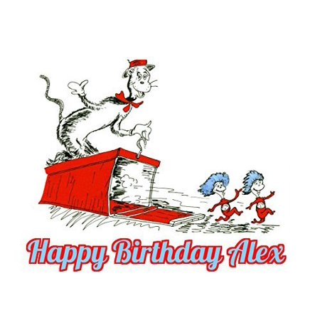 Dr Seuss Cat In the Hat Thing 1 Thing 2 Edible Image Photo Cake Topper Sheet Personalized Custom Customized Birthday Party - 1/4 Sheet - 74082 - Thing 1 And Thing 2 Birthday Party