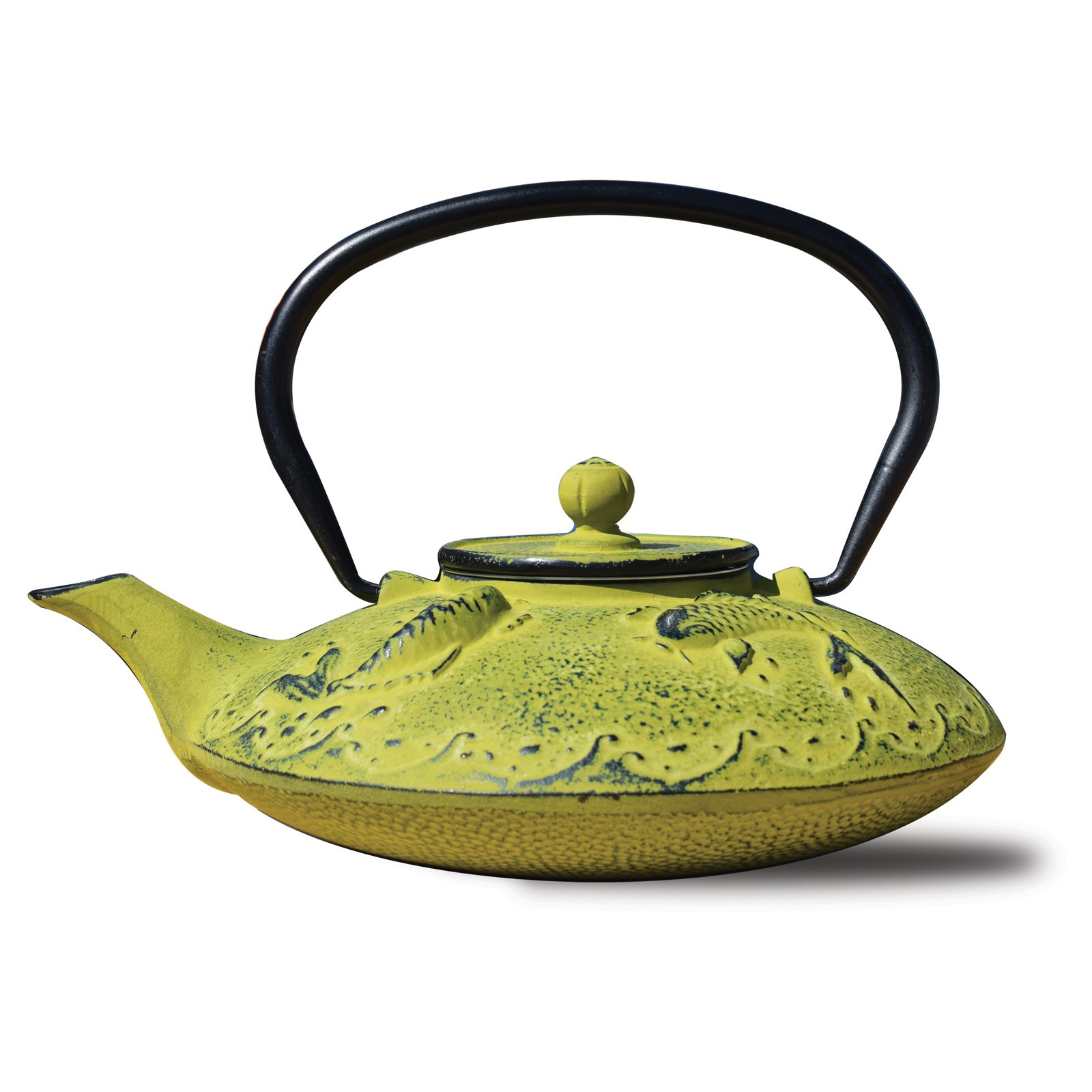 Old Dutch International 0.78 Qt Cast Iron gon Koi Teapot and Infuser in Moss Green