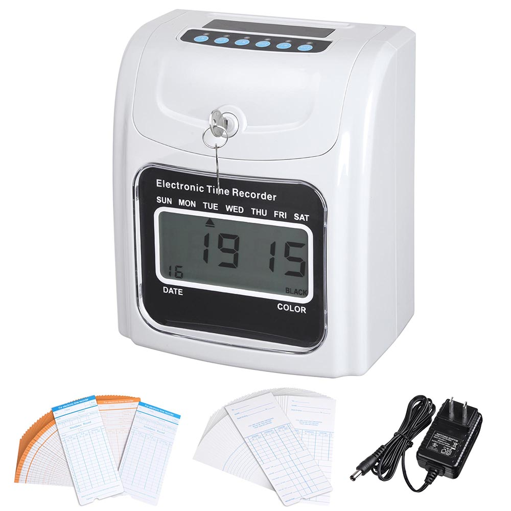 Yescom Employee Attendance Punch Time Clock Payroll Recorder LCD Display w  100 Cards by Pattern