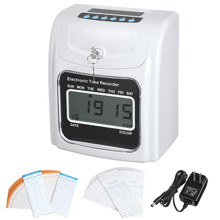 Yescom Employee Attendance Punch Time Clock Payroll Recorder LCD Display w/ 100 Cards ()