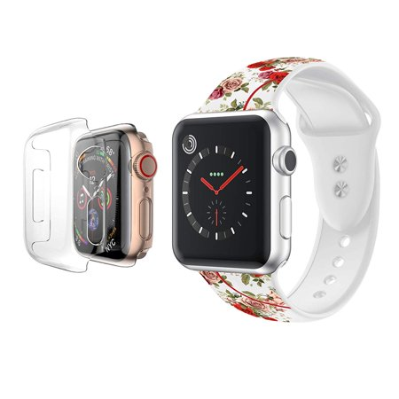 Apple Watch Bands 42mm Series 1/2/3/Nike+ Soft Silicone Band with Full Body Clear Hard Temper Glass Screen Protector for iWatch Apple Watch Series 1/2/3/Nike+ -White Rose (Watch With Clear Band)