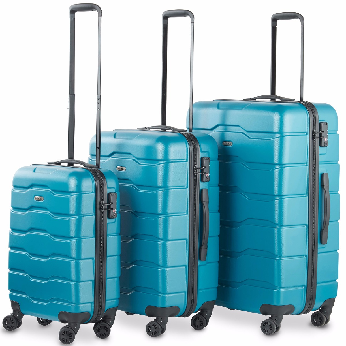VonHaus Premium Teal 3 Piece Lightweight Travel Luggage Set - Hard Shell Suitcase with 4 Spinner Wheels, TSA Integrated Lock, Extendable Handle - Small, Medium and Large