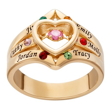 Personalized Women's Gold or Rhodium Plated Floating Mother's Birthstone with Family Name and Birthstone Heart Ring Family Name Ring