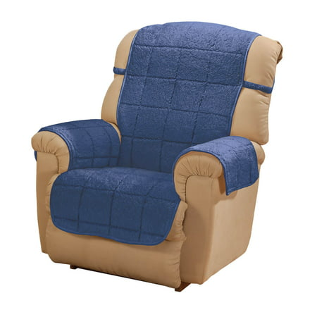 Parker Sherpa Recliner Cover By Oakridge Navy Blue Water Resistant Polyester 48 X 23 Back Cover 30 5 X 23 Seat Cover 2 Arm Covers Of 21 X