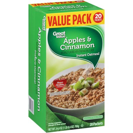 Great Value Instant Oatmeal, Apples & Cinnamon, 20 Count