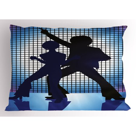 70s Party Pillow Sham Couple Silhouettes on the Dance Floor in Night Life Oldies Seventies Fun, Decorative Standard Queen Size Printed Pillowcase, 30 X 20 Inches, Blue Purple Black, by Ambesonne