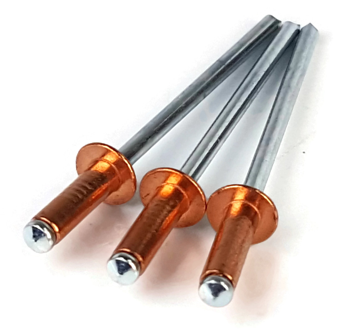"#44 (1/8"" Diameter, 0.188-0.250 Grip) Blind Copper Pop Rivets - Zinc Mandrel - 100 Pieces"