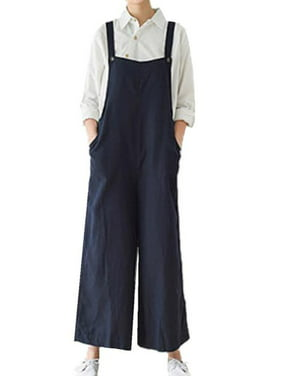 Women's Straps Pockets Comfy Wide Leg Jumpsuits