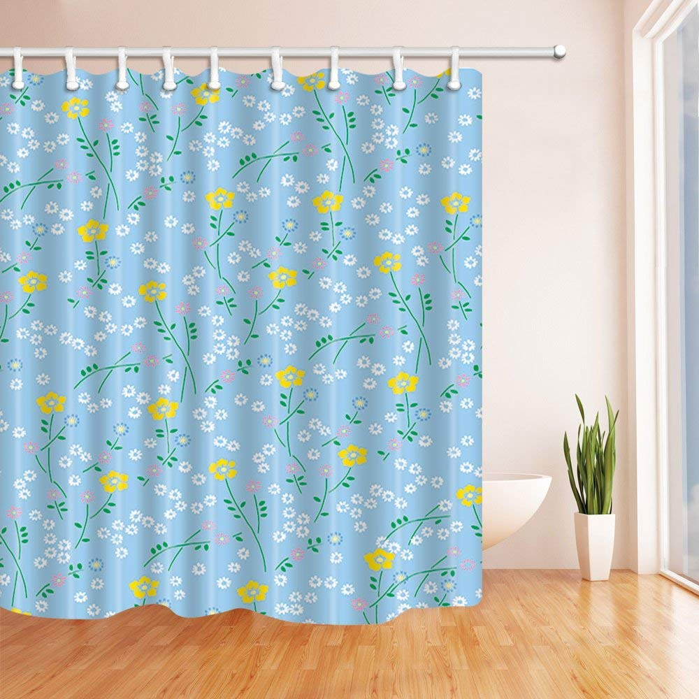 artjia fresh summer decor white and yellow flowers in light blue polyester fabric bathroom