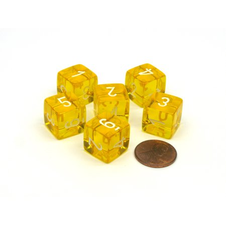 Translucent 15mm 6-Sided D6 Chessex Dice, 6 Pieces - Yellow with White Numbers