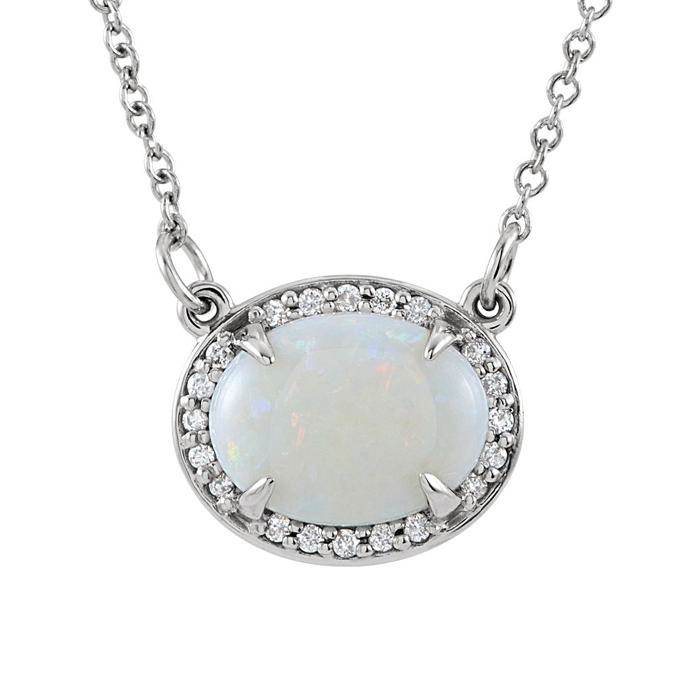 Oval White Opal & .05 Ctw Diamond 14k White Gold Necklace, 16.5 Inch by Black Bow Jewelry Company
