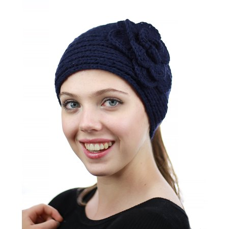 NYFASHION101 Stone Accent Hand Knitted Flower Winter Headband Headwrap - NAG15Y, Navy