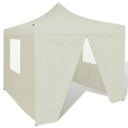 Outdoor Tent 10' x 10' with 4 Walls Foldable Canopy Gazebo - Cream