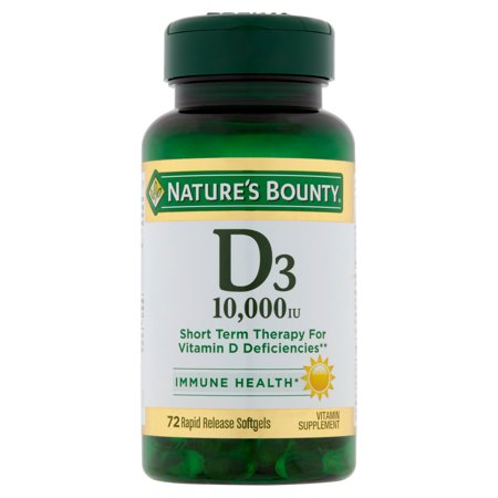 Nature's Bounty Vitamin D3, 10,000 IU Rapid Release Softgels, 72 (Best Source Of Vitamin D3)
