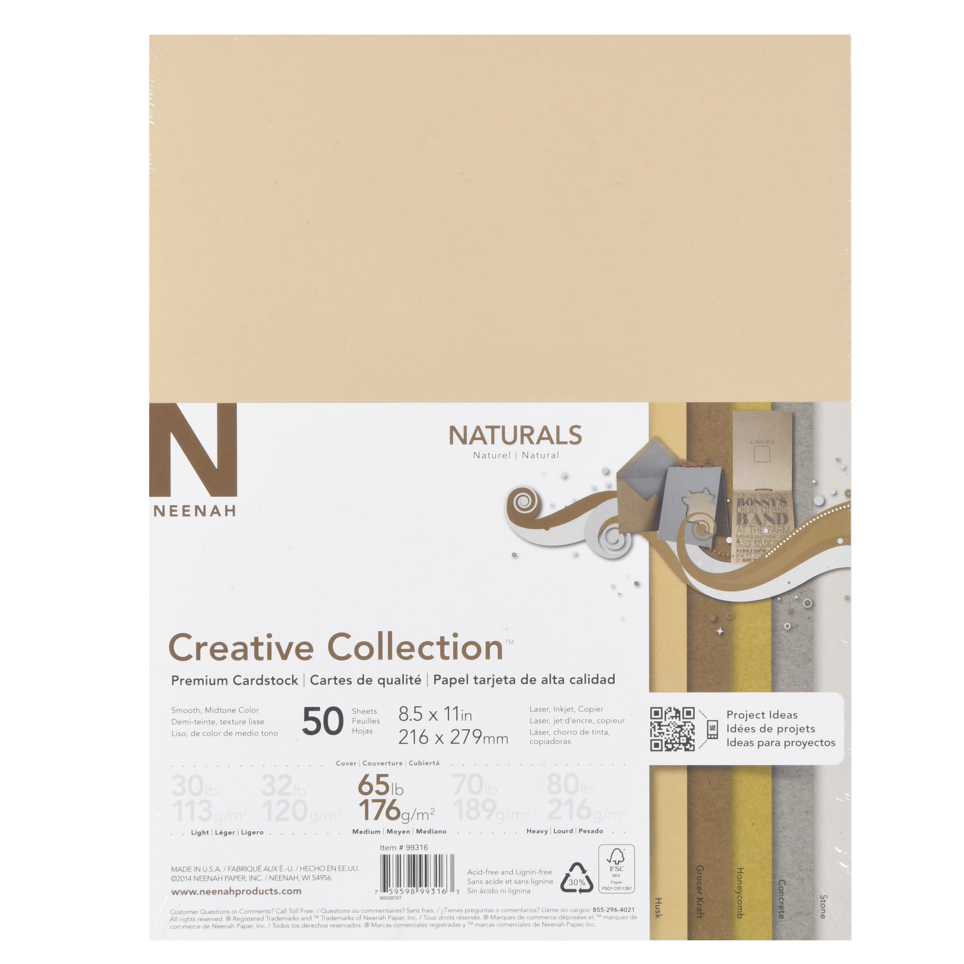 "Neenah Creative Collection Natural Specialty Cardstock, 8.5"" x 11"", 65 lb., 5-Color Assortment, 50 Sheets"