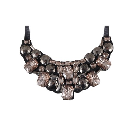 Trendy Fashion Jewel Gem Acrylic Gem Bead Bib Black Satin Tie Ribbon Necklace