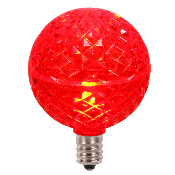 Club Pack of 25 LED G50 Red Replacement Christmas Light Bulbs - E12 Base
