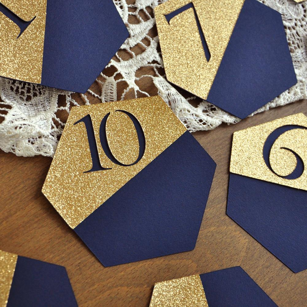 Navy Wedding Table Number. Gold and Navy Wedding. Navy Blue Table Numbers. Geometric Wedding Decorations.