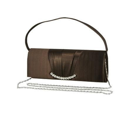 Beaded Striped Clutch (Unique Bargains Women's Rhinestone Decor Rectangle Stripes Evening Bag Brown)