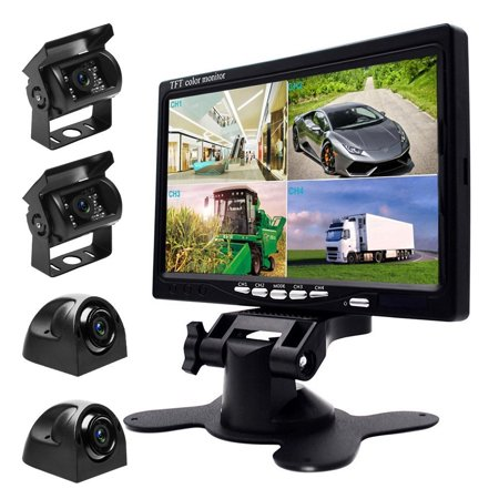 9V-24V Car Backup Camera Kit, 7 Inch HD Quad Split Monitor + 4 x Waterproof IR Night Vision Front Rear Side View Cameras and 33ft AV Cables, Mirror/Normal