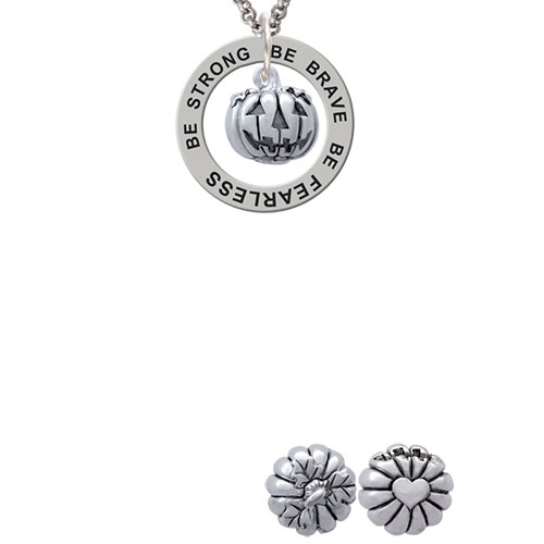 Small Jack O'Lantern with Stem Be Strong Brave Fearless Affirmation Ring Necklace