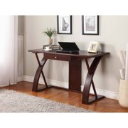 Roundhill Solid Wood Computer Desk, Cherry Brown