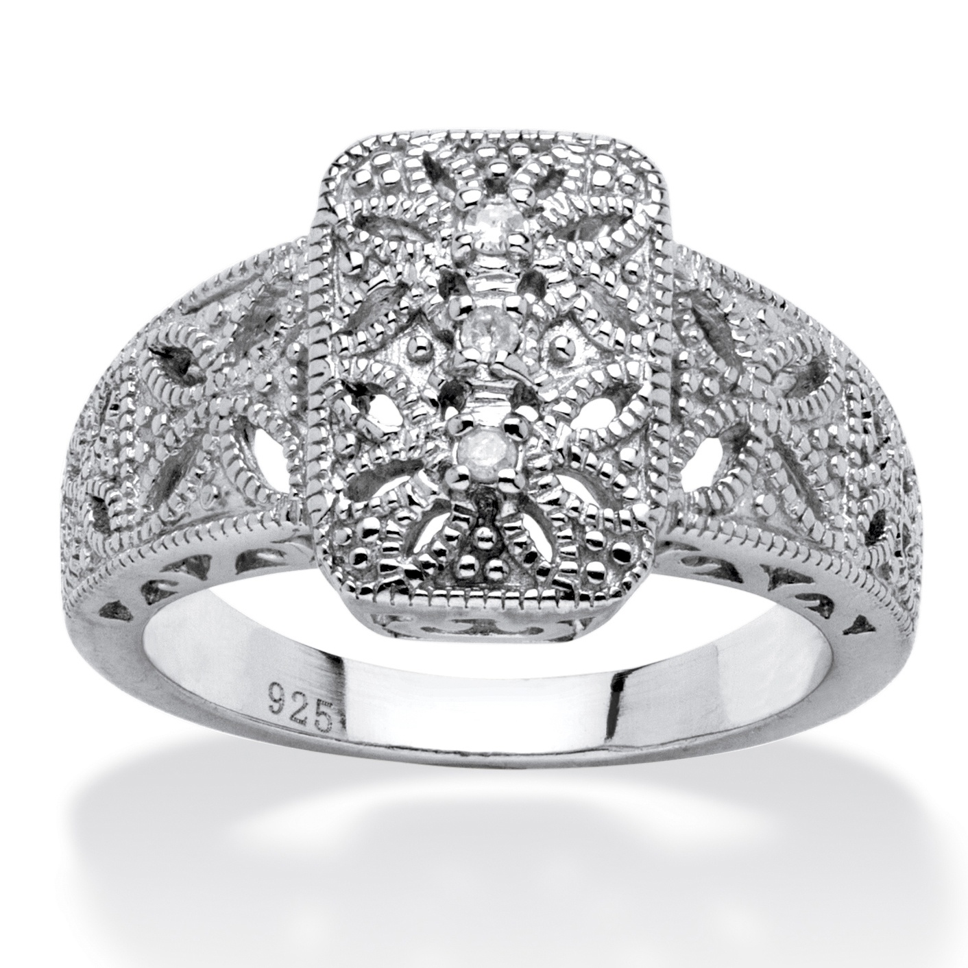 Diamond Accent Vintage-Inspired Platinum over Sterling Silver Filigree Ring