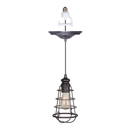 Nickel Beacon Pendant Lighting (Instant Pendant Recessed Light Conversion Kit Brushed Bronze Wire Cage Shade )