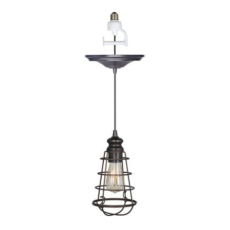 Haverhill Pendant Lighting - Instant Pendant Recessed Light Conversion Kit Brushed Bronze Wire Cage Shade
