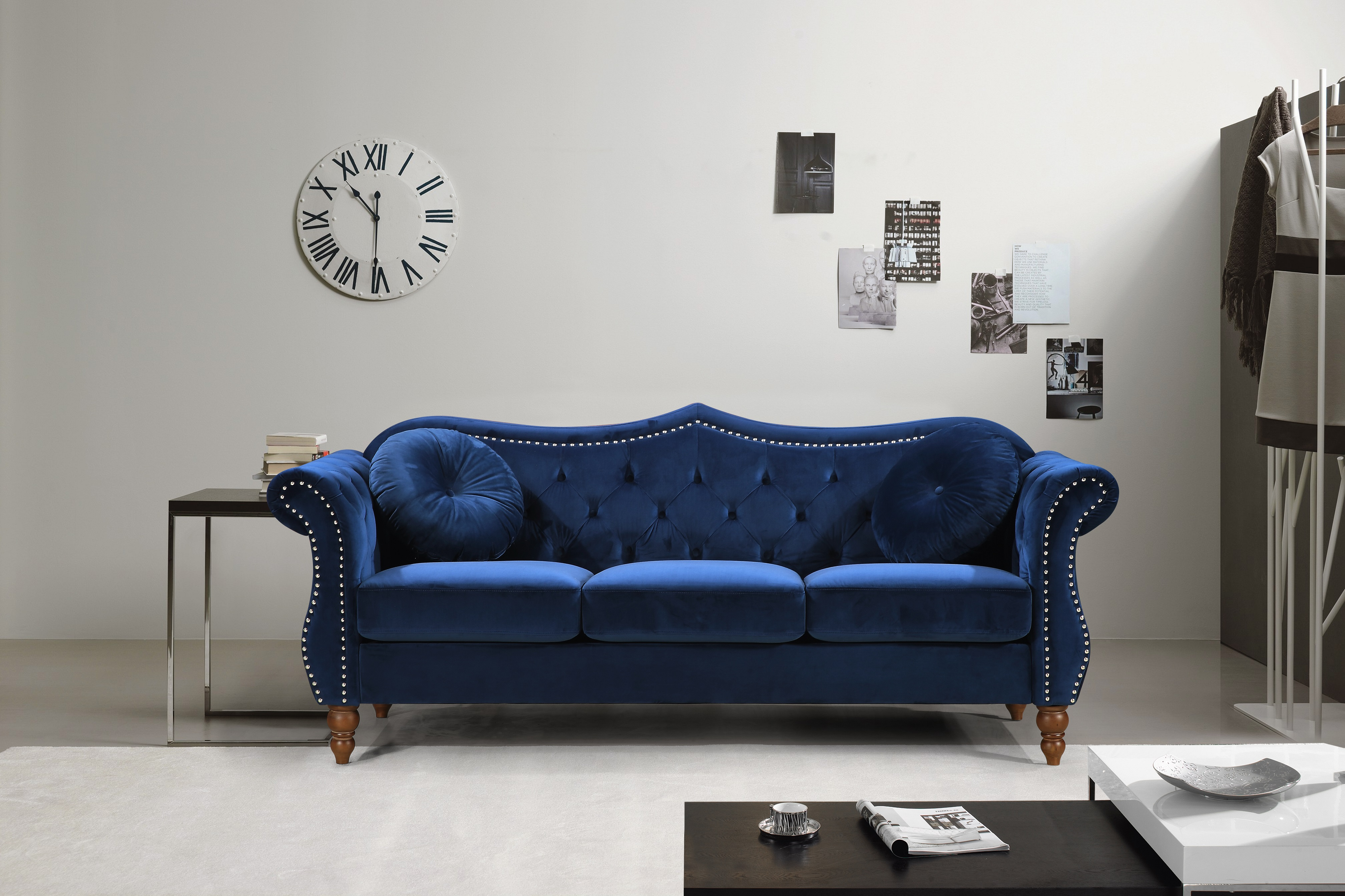 US Pride Furniture Carbon Classic Nail-head Chesterfield Living Room Sofa, Blue by US Pride Furniture