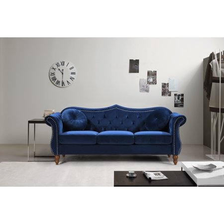 US Pride Furniture Carbon Classic Nail-head Chesterfield Living Room Sofa, Blue