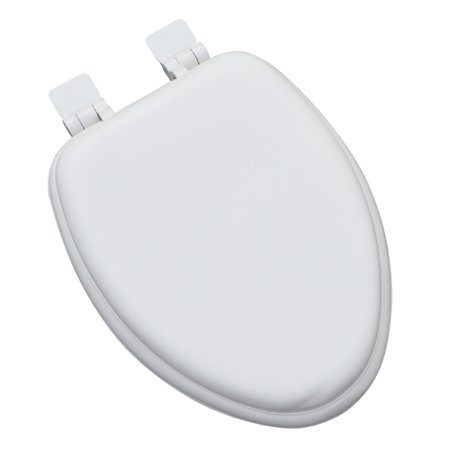 Premium Slow Close Soft Elongated Toilet Seat with a Closed Front and Wood Cores, OSG, Adjustable Release 'N' Clean Hinge in White ()