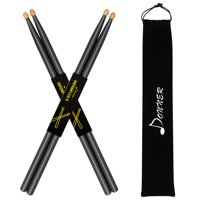 Donner Black Drum Sticks 5A Classic Maple Wood Drumstick 2 Pair with Carrying Bag