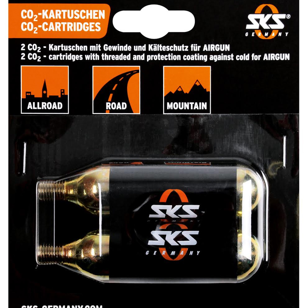SKS 24g Threaded Co2 Bicycle Tire Inflator Cartridges - Set of 2 - 11214