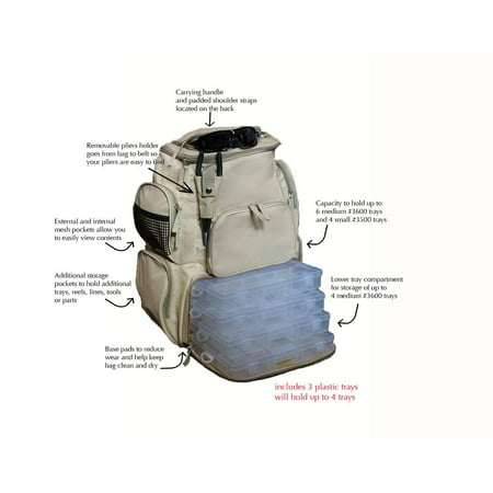 Fishing Backpack Tackle w/ 3 Trays Multiple Pouches Storage Water resistant Tactical Pure Power