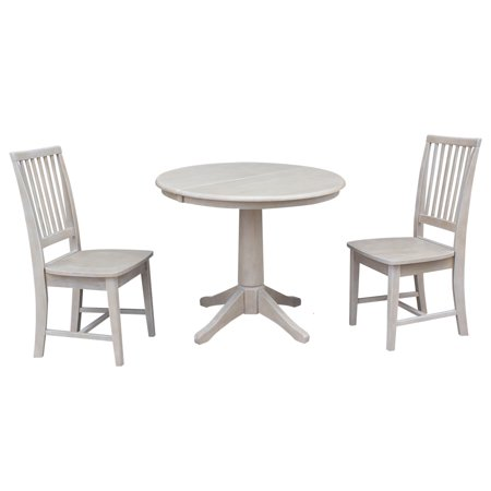 36 Quot Round Dining Table With 12 Quot Leaf And 2 Mission Chairs