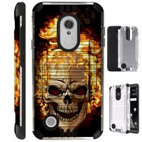 For LG Stylo 3 / LG Stylo 3 Plus LS777 Case Brushed Metal Texture Hybrid TPU Metallic Guard Phone Cover (Skull Fire)