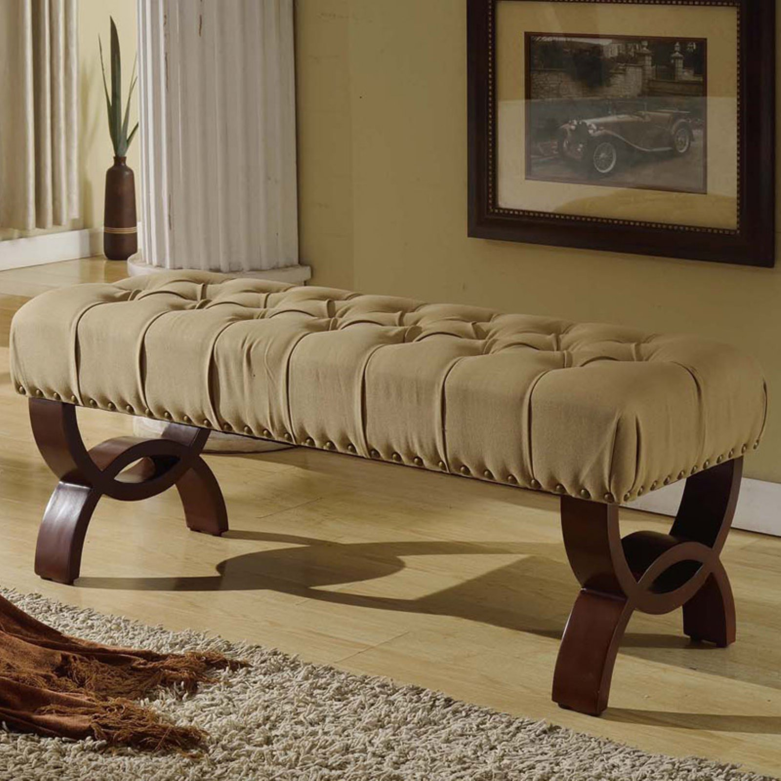 HomePop Carolina Tufted Bench With Nailhead Trim, Neutral