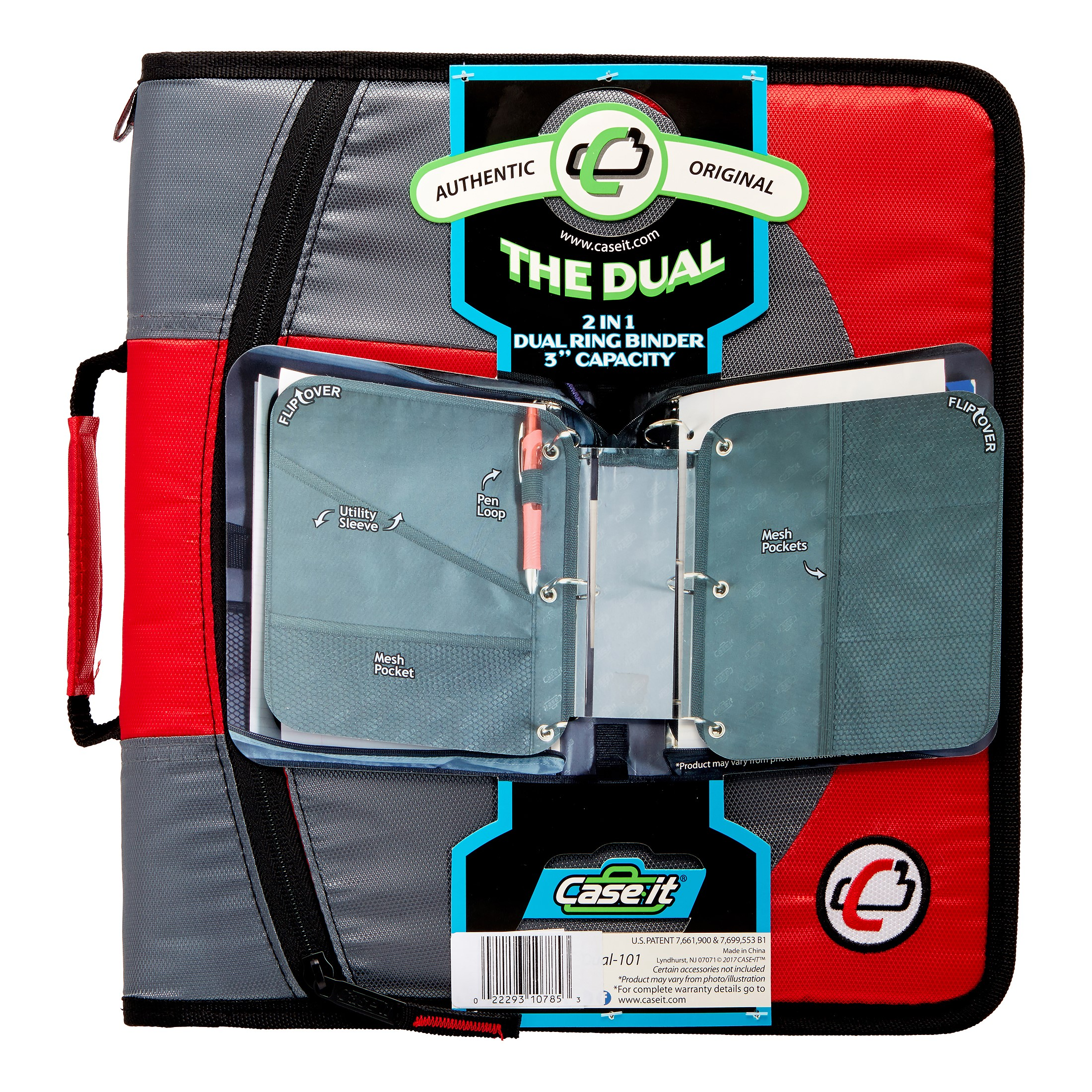 Case-It Dual 2-in-1 Zipper D-Ring Binder, 2 Sets of 1.5-Inch Rings, Red, DUAL-101-RD