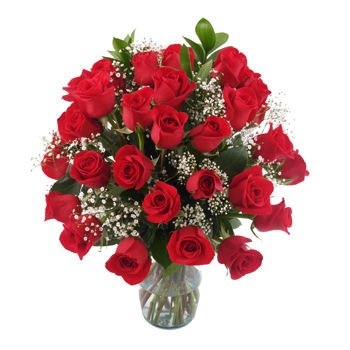 Eflowy Fresh Cut Flower Arrangement  Gorgeous Rose Bouquet Floral Arrangement For Delivery With Vase  36 Red Roses  For A Special Ocassion