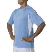 A4 Men's Cooling Performance Color Block Short Sleeve Tee, Light Blue/White, Small