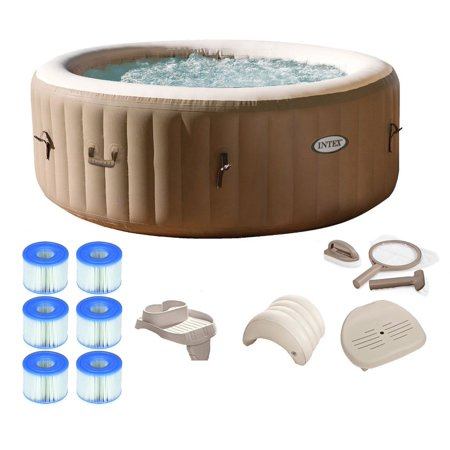 Intex PureSpa 4 Person Inflatable Portable Hot Tub Spa Package w ...