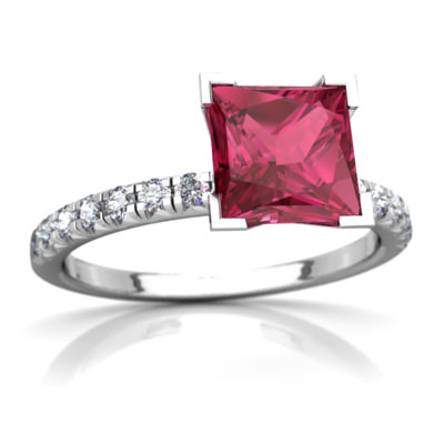 Pink Tourmaline Petite Pavé Ring in 14K White Gold by